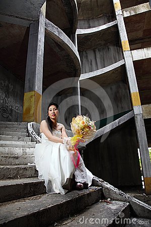Bride on Old Rusty Stair