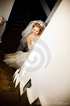 Free Bride On The Staircase Royalty Free Stock Image - 9397626