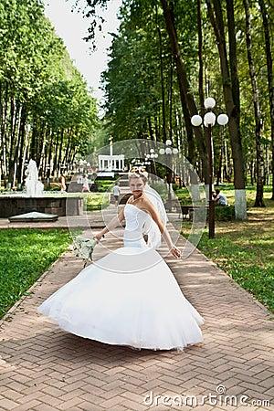 Bride in a park