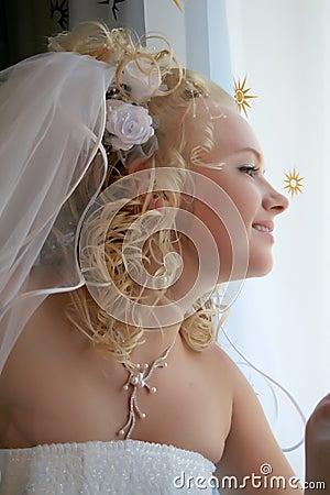 Bride pending the groom