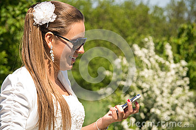 Bride with phone