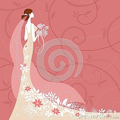 Bride on pink background