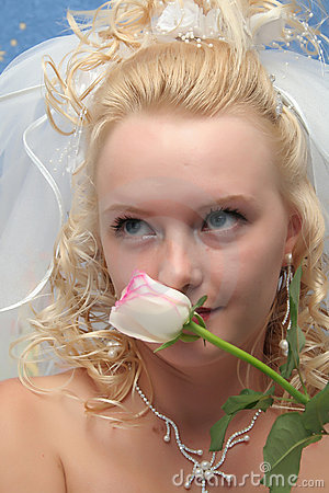 Bride and pink rose