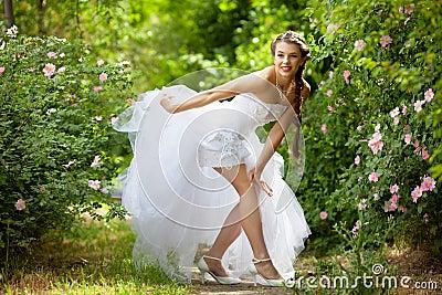 Bride portrait in park