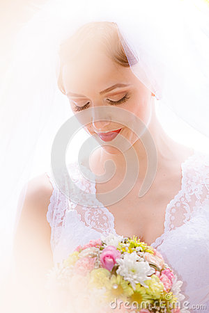 Free Bride Posing In Her Wedding Day Stock Images - 25391144
