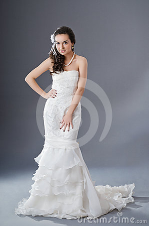 Bride posing in studio