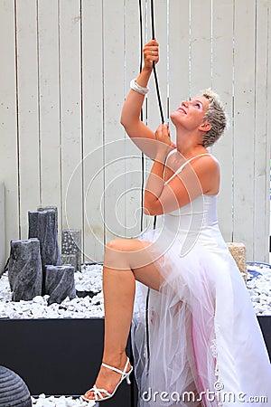 Bride pulling the strings