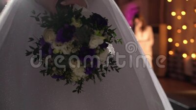 Bride ready to throw bridal bouquet at the wedding party.  stock footage