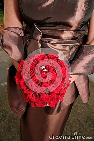 Bride Red Bouquet Bronze Gown