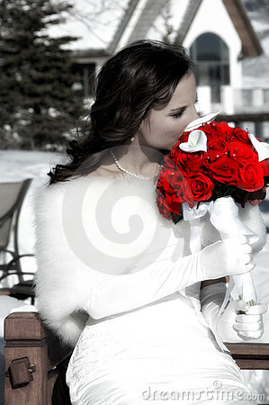 Bride and Red Roses