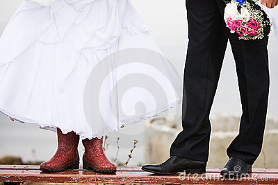 The bride in rubber boots