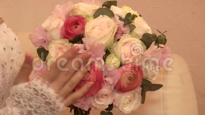 The bride`s bouquet of white and pink roses stock video footage
