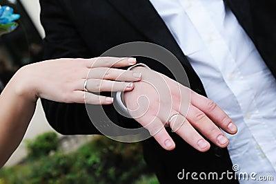 Bride s and groom s hands