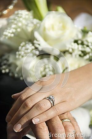 Bride s hand on top of groom s.
