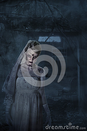 Bride with scars and spooky house