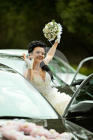 Bride showing  ok  gesture