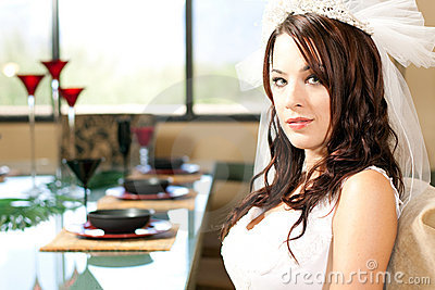 Bride sitting for dinner