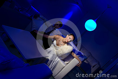 Bride sitting in a stylish lounge