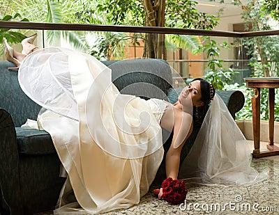 Bride on the sofa