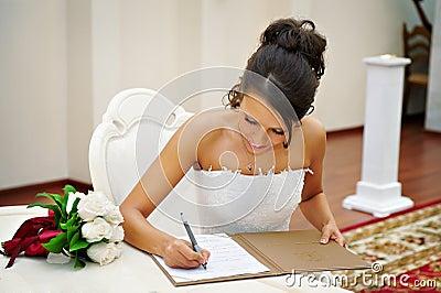 Bride on solemn registration of marriage
