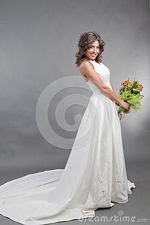 The bride in studio portrait
