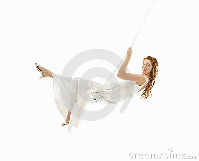 Bride in swing set.