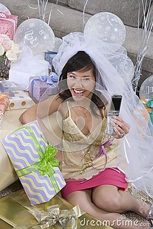 Bride Taking Self Portrait Through Mobile Phone