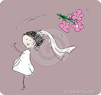 Bride tossing bouquet behind her.