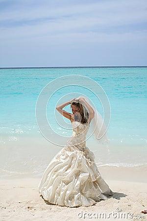 Bride on tropical beach