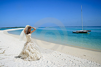 Bride on tropical beach