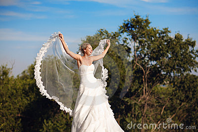 Bride with veil in form of wings