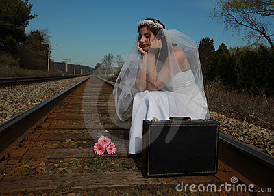 Bride waiting for train
