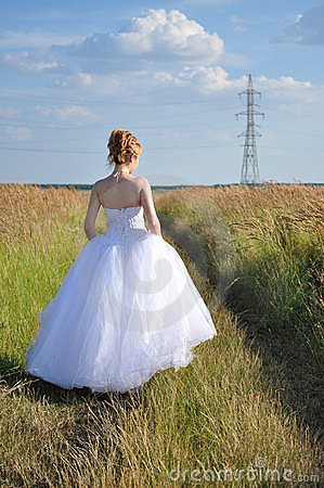 Bride walking away