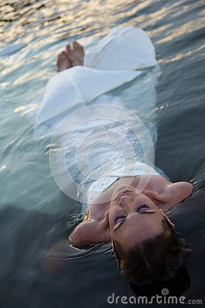 Bride in water