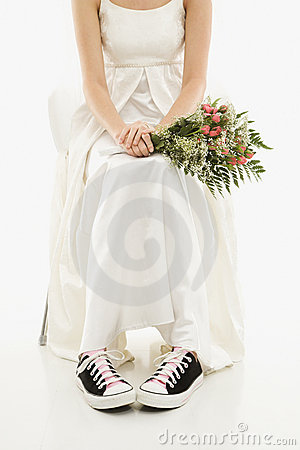 Bride wearing sneakers.