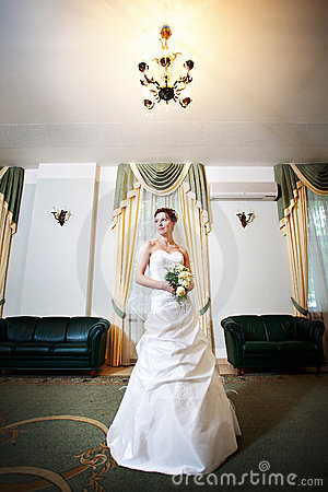 Bride in wedding dress of palace wedding