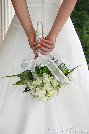 Bride with white roses