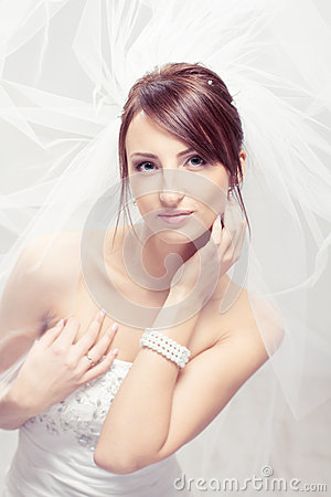 Bride in white veil