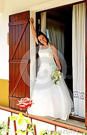 Bride at window
