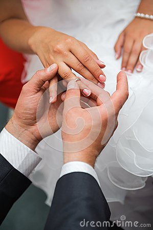 Bridegroom put the ring on one s finger of bride
