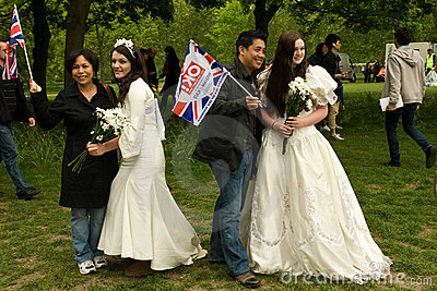 Brides posing at the Royal Wedding, London 2011 Editorial Photo