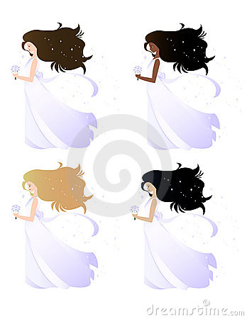 Free Brides With Sparkling Hair Royalty Free Stock Photos - 2550668