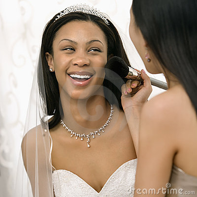 Free Bridesmaid Applying Makeup Stock Photo - 2542880