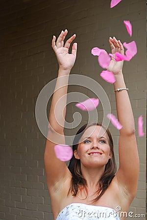 Bridesmaid with petals