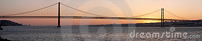 Bridge 25 de Abril on river Tagus at sunset, Lisbon