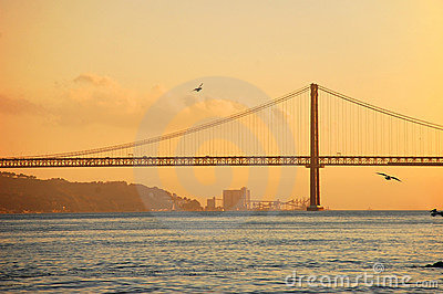 Bridge 25th of April in Lisbon, Portugal