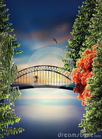 Bridge above the lake at sunset Vector Illustration