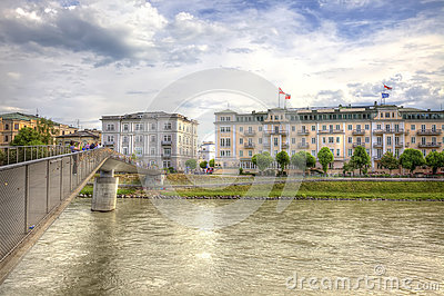 Bridge across the river Salzach