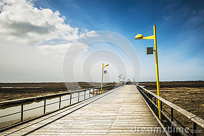 Bridge on the beach of St. Peter-Ording