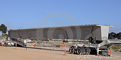 Bridge beam on trailer